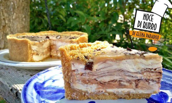 Cheesecake variegato al caramello&cioccolato (senza cottura)