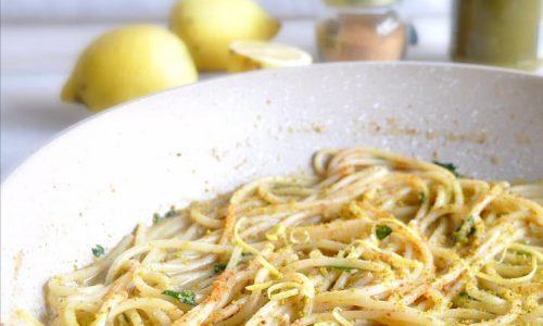 Spaghetti risottati pistacchio e bottarga al limone