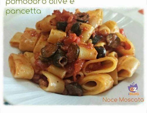 Calamarata pomodoro olive e pancetta