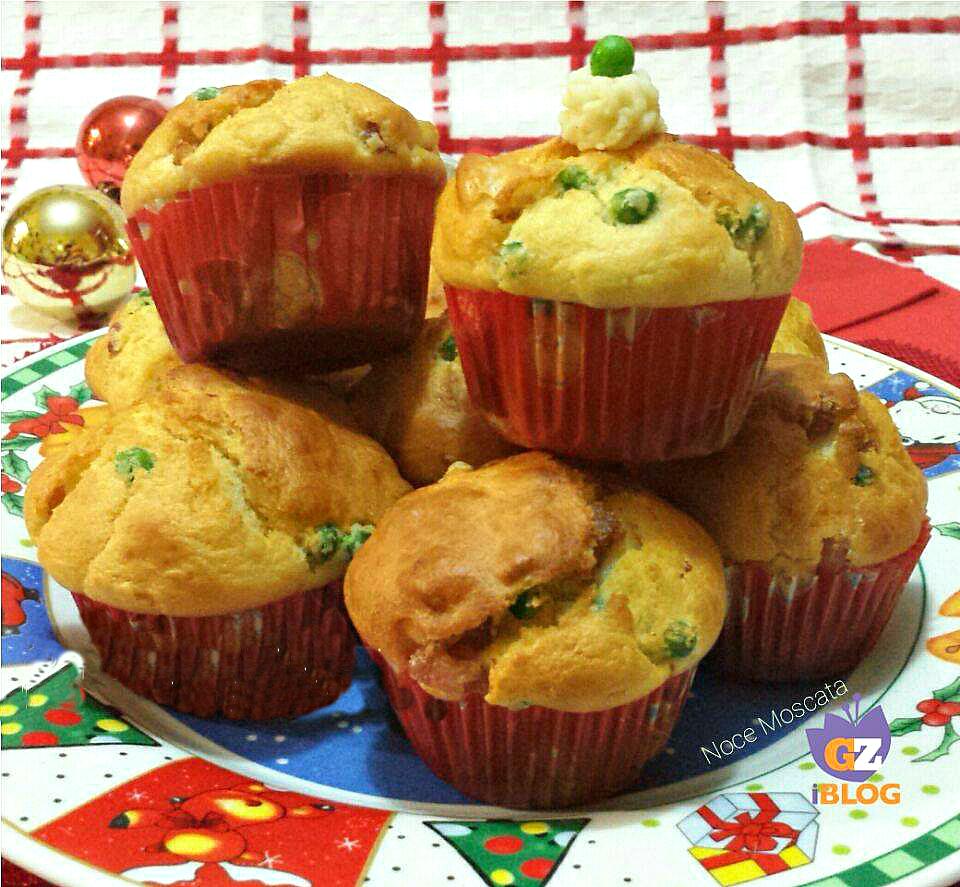Muffin salati pancetta e piselli