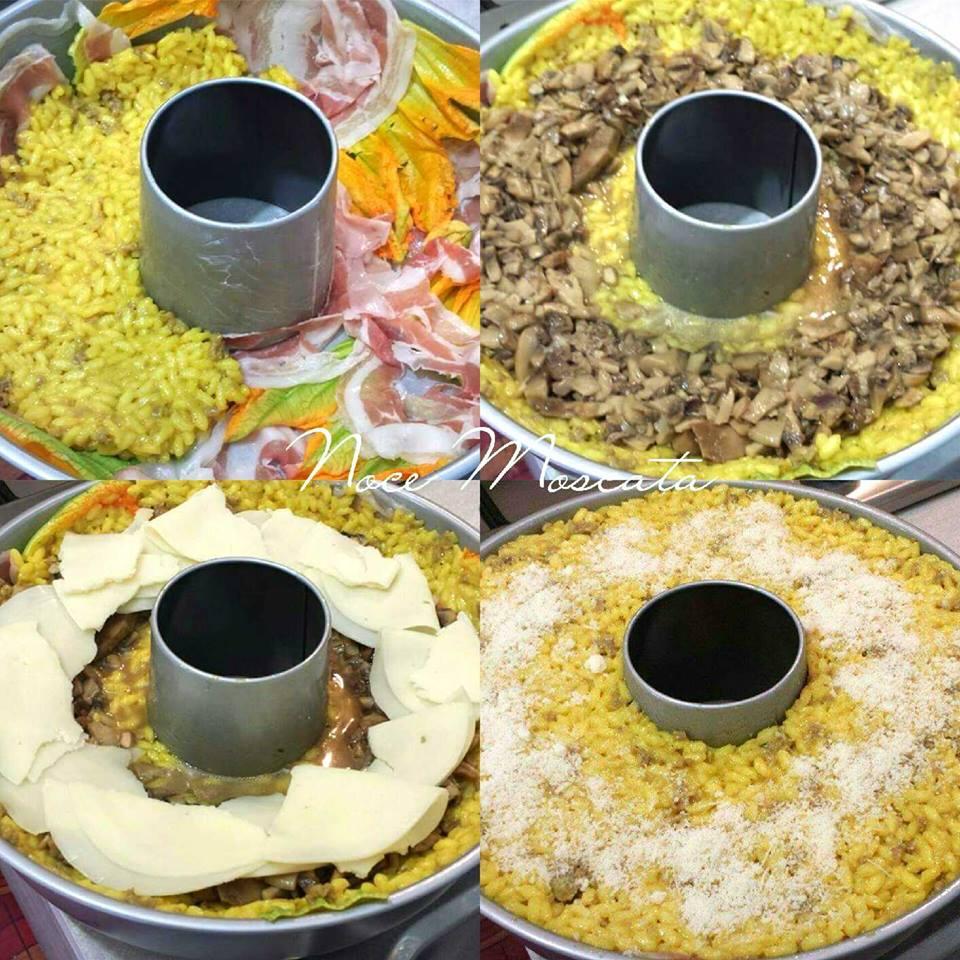 Ciambella di riso con cuore di funghi e provola