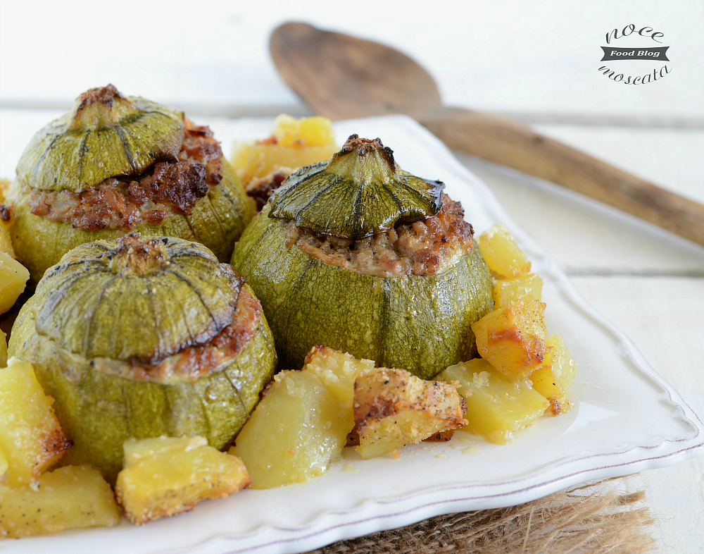 Zucchine ripiene al forno con patate