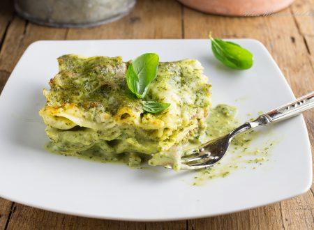 Lasagne al pesto genovese e prosciutto cotto