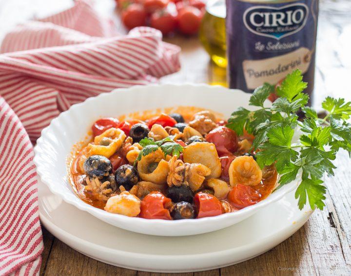 Seppioline al sugo di pomodorini e olive
