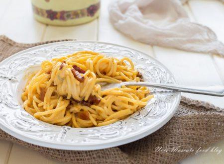 Spaghetti cremosi zucca e guanciale croccante