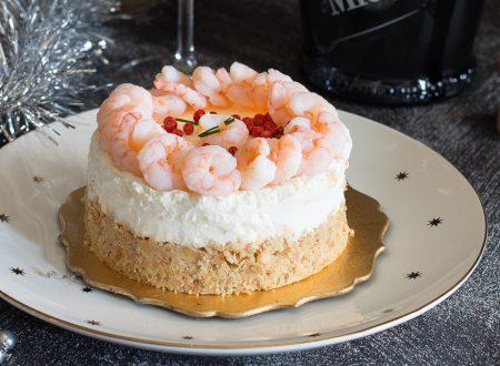 Mini cheesecake al lime con gamberetti e pepe rosa