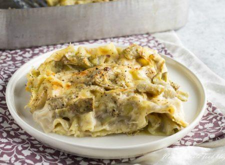 Lasagne con carciofi e besciamella al forno