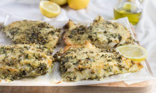 Filetto di pesce persico al forno marinato al prezzemolo