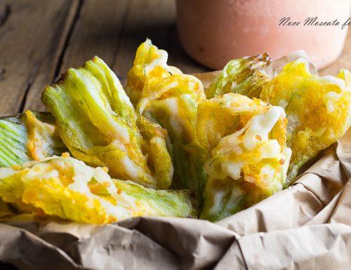 Fiori di zucca in tempura senza uova