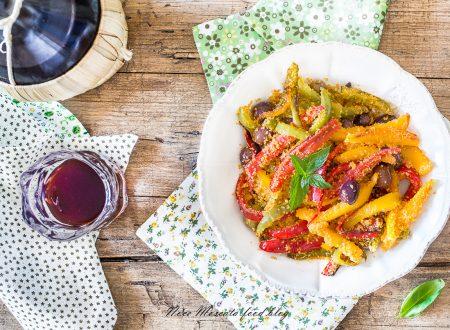 Peperoni in padella con pangrattato e olive