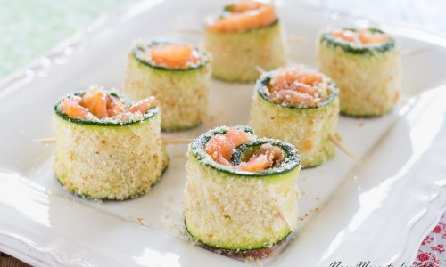 Rotolini di zucchine al salmone