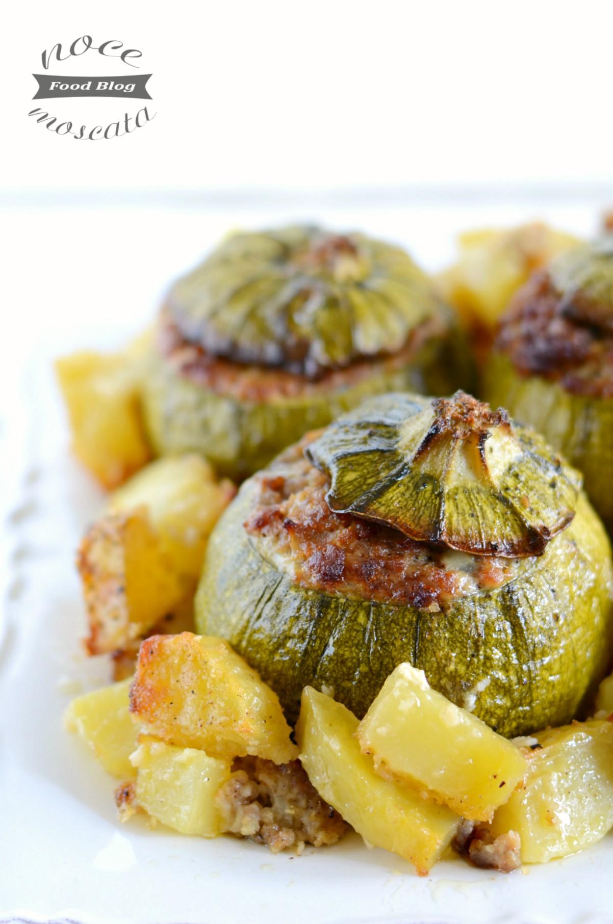 Zucchine ripiene al forno con patate verticale