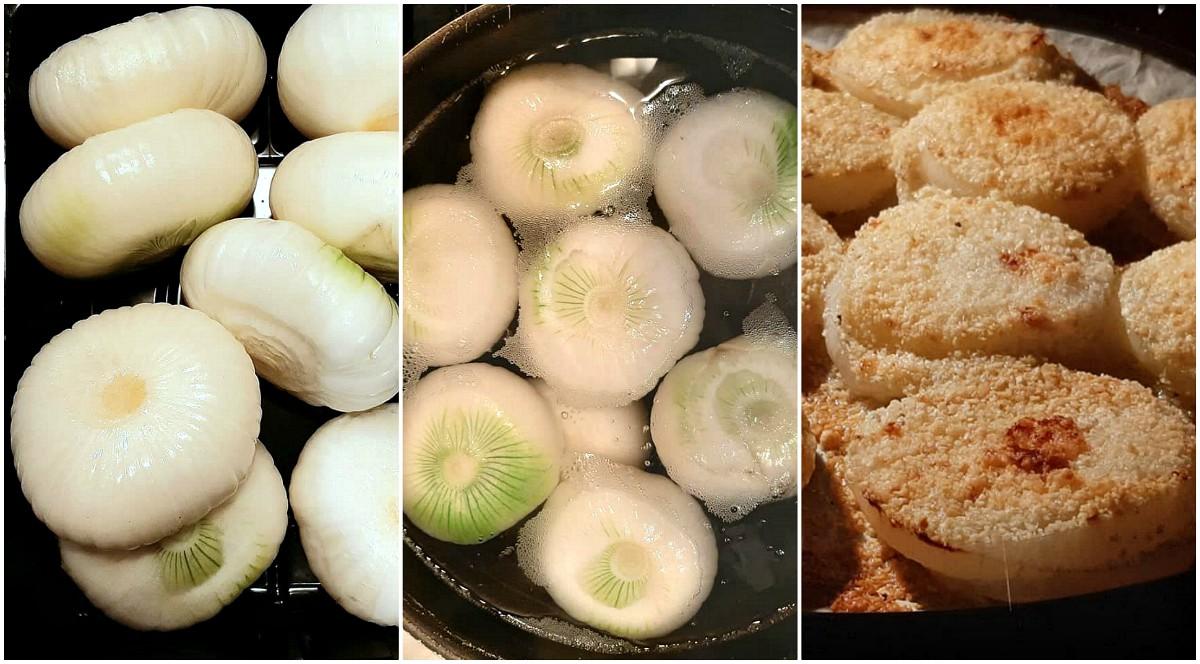 Cipolle gratinate al forno preparazione
