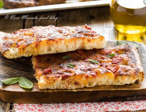 Pizza rossa in teglia soffice