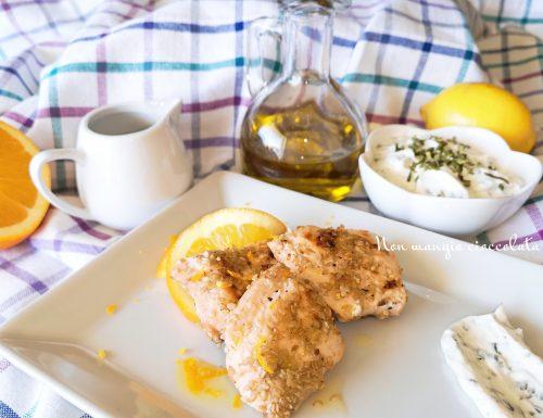 Tranci di salmone al profumo di arancia con vinaigrette e salsa allo yogurt