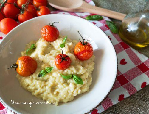 Risotto alla ricotta con pomodorini e basilico