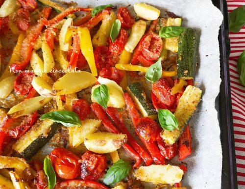 Verdure al forno gratinate con pangrattato e formaggio