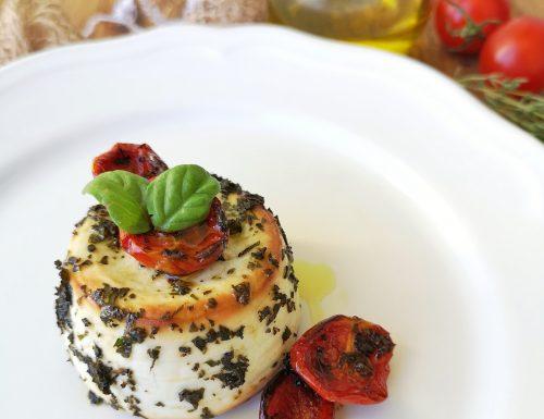 Ricottina al forno con erbe aromatiche e pomodorini caramellati