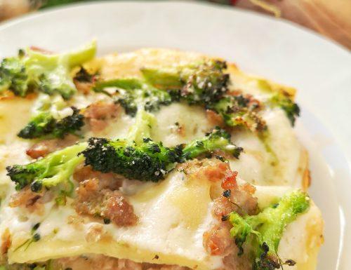 Lasagne con broccoli e salsiccia
