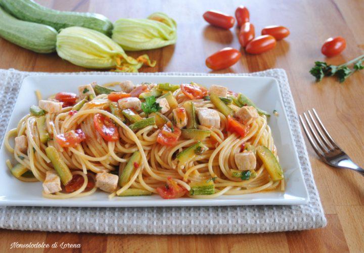 Spaghetti con pesce spada e zucchine