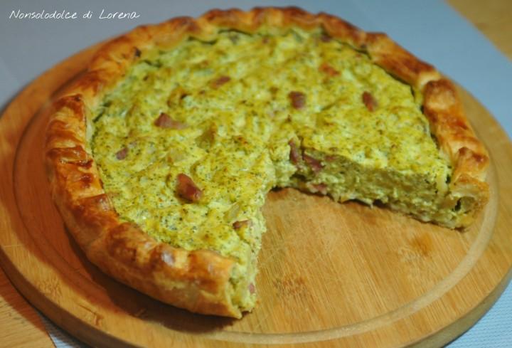 Torta di sfoglia ai broccoli e pancetta