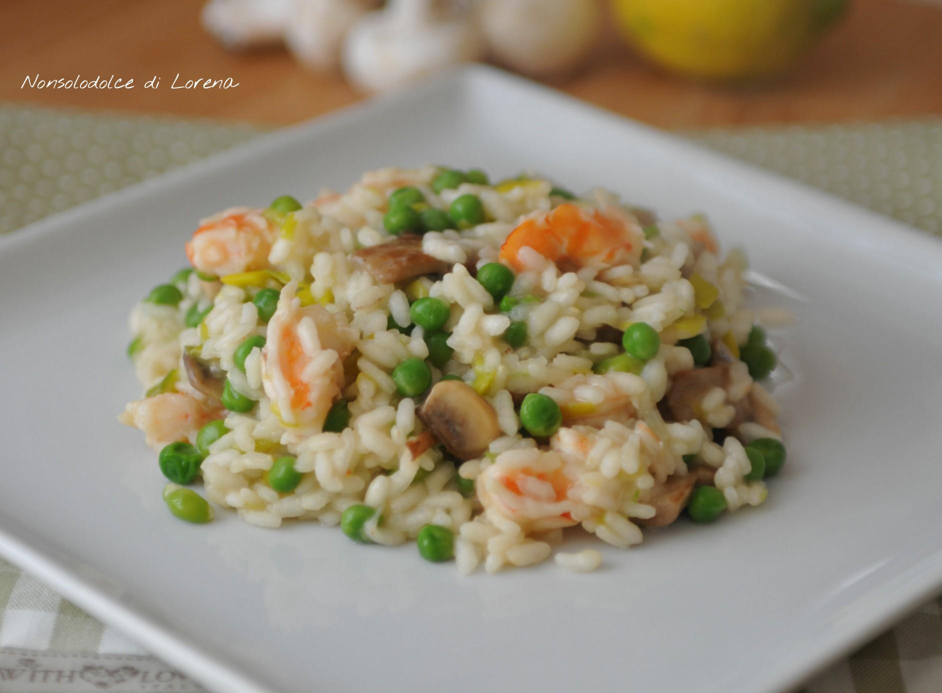 Risotto con gamberi piselli e funghi nonsolodolce di lorena for Ricette culinarie