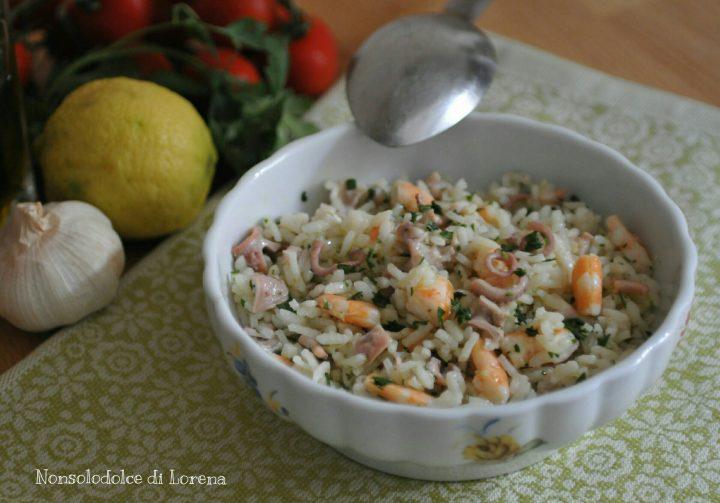 Insalata di riso con gamberi e moscardini
