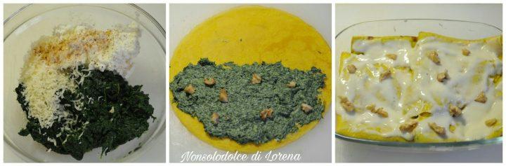 Crepes agli spinaci ricotta e noci