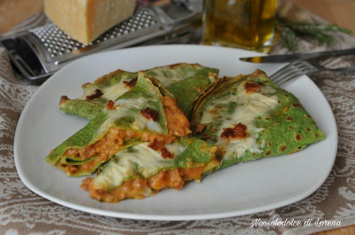 Crepes Verdi con Ragù Ricco di Salsiccia