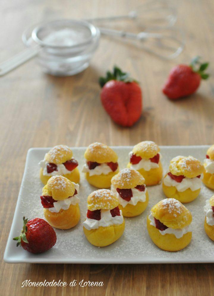 Bign con panna montata e fragole dolce golosissimo e fresco - Differenza panna da cucina e panna fresca ...