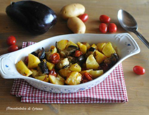 Contorno di patate e melanzane al forno