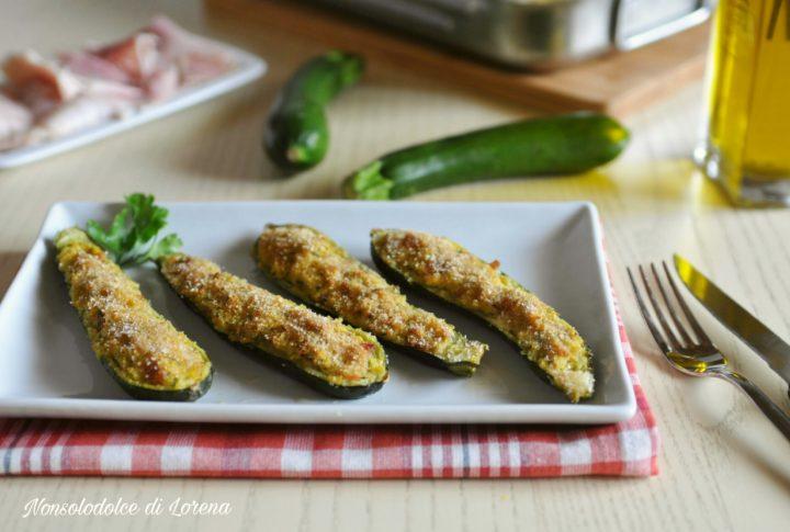 Barchette di zucchine al forno con prosciutto