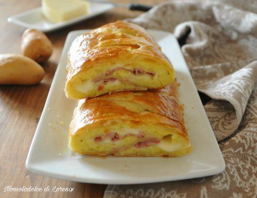Rotolo di sfoglia con patate prosciutto e formaggio