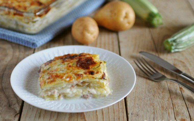 Parmigiana bianca di patate e zucchine