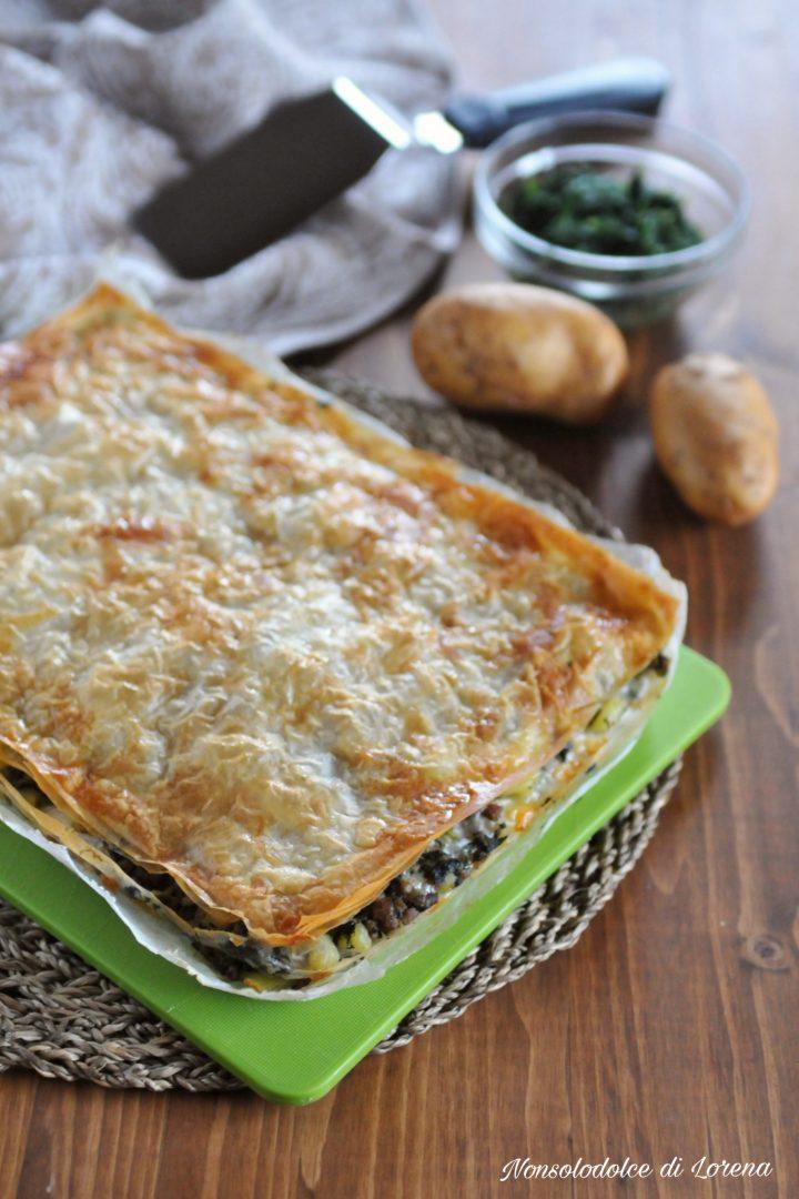 Sfogliata di carne patate e spinaci