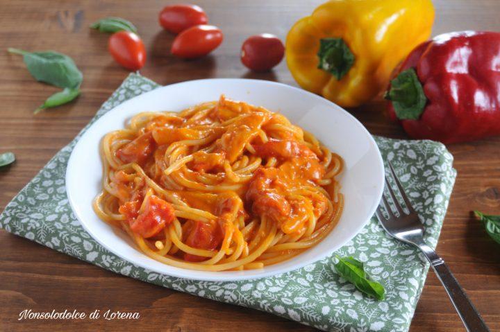Spaghetti cremosi ai peperoni