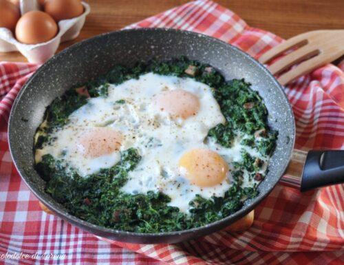 Uova e spinaci con speck
