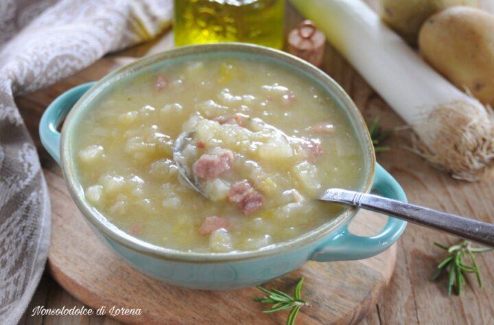 Zuppa di porri e patate con prosciutto