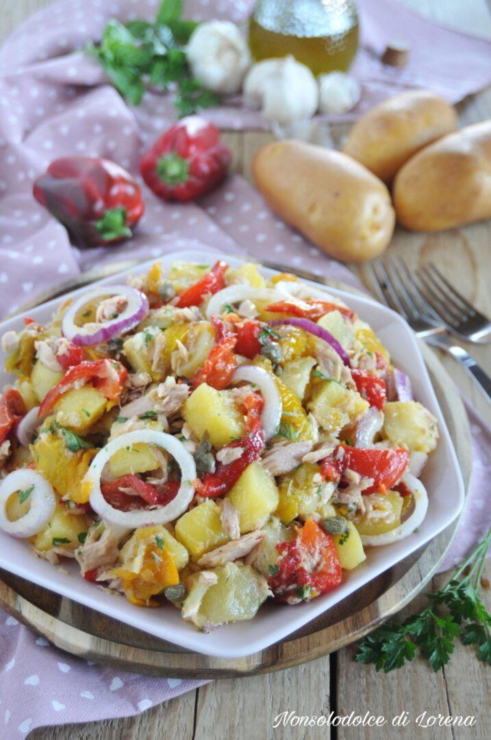 Insalata di patate con tonno e peperoni
