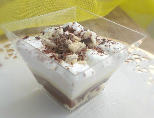 Vaschette al torrone bianco vanigliato con crema pasticcera e cioccolato