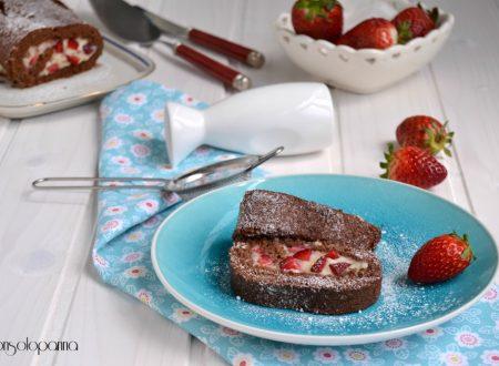 Rotolo al cacao con fragole e crema pasticcera