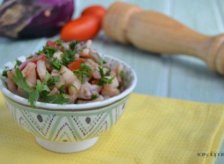 Calamari con melanzane e pomodoro