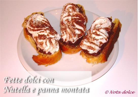 Fette dolci con Nutella e panna montata ricetta veloce