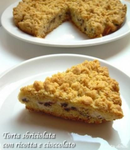 Torta sbriciolata con ricotta e cioccolato, ricetta dolce