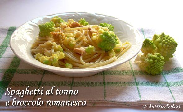 Spaghetti al tonno e broccolo romanesco ricetta primo