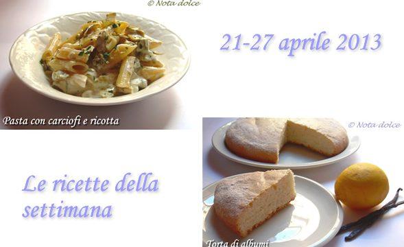 Le ricette della settimana 21-27 aprile 2013