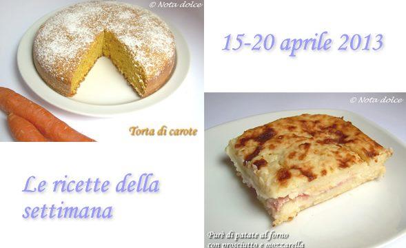 Le ricette della settimana 15-20 aprile 2013