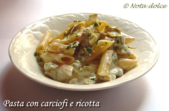 Pasta con carciofi e ricotta, ricetta vegetariana