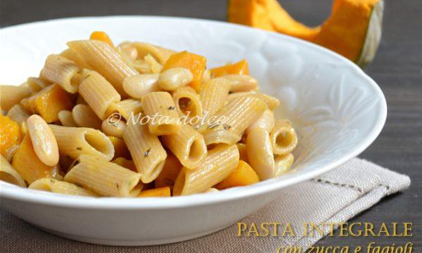 Pasta integrale con zucca e fagioli ricetta facile