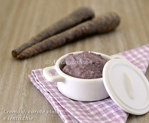 Crema di carote viola e lenticchie ricetta